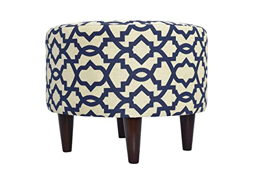 MJL Furniture Designs Sophia Collection Fabric Upholstered Round Footrest Ottoman with Round Espresso Finished Legs, Sheffield Series, Indigo