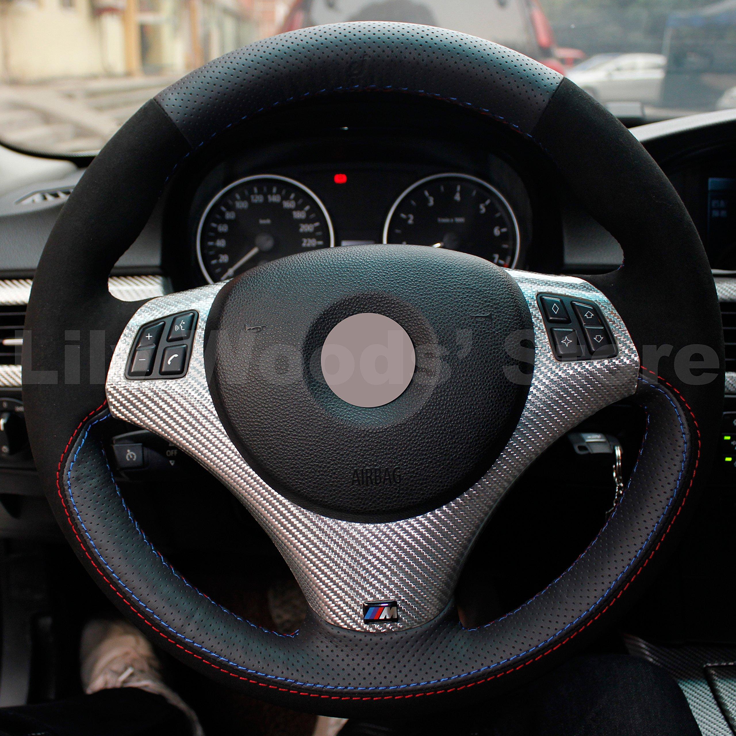 Black Thread for BMW 335i 335 Xi 335D 335i XDrive Black Microfiber Leather Interior accessories Eiseng Steering Wheel Cover for BMW 128i 135i for BMW E90 E91 325i 328i 328i XDrive//for BMW 330i