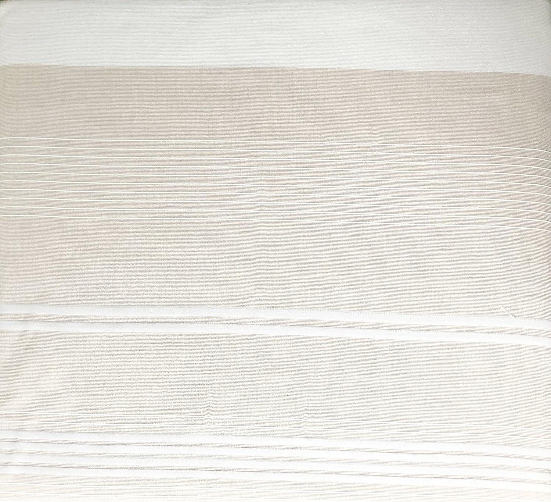 River Stripe Tahari Bedding Retro Vintage Pattern Jacquard Woven White Tan Horizontal Stripes Varying Widths Duvet Cover Set Full//Queen Size 3 Piece Quilt Comforter Cover