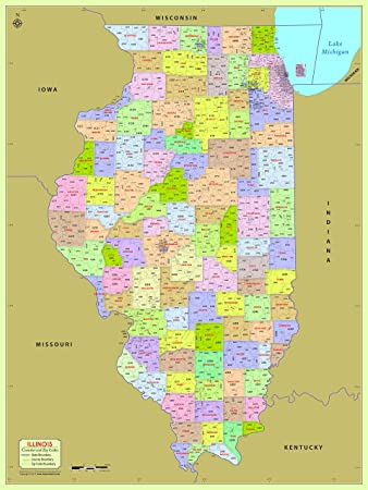 Zip Code Map Illinois Amazon.: Illinois County with Zip Code Map (36
