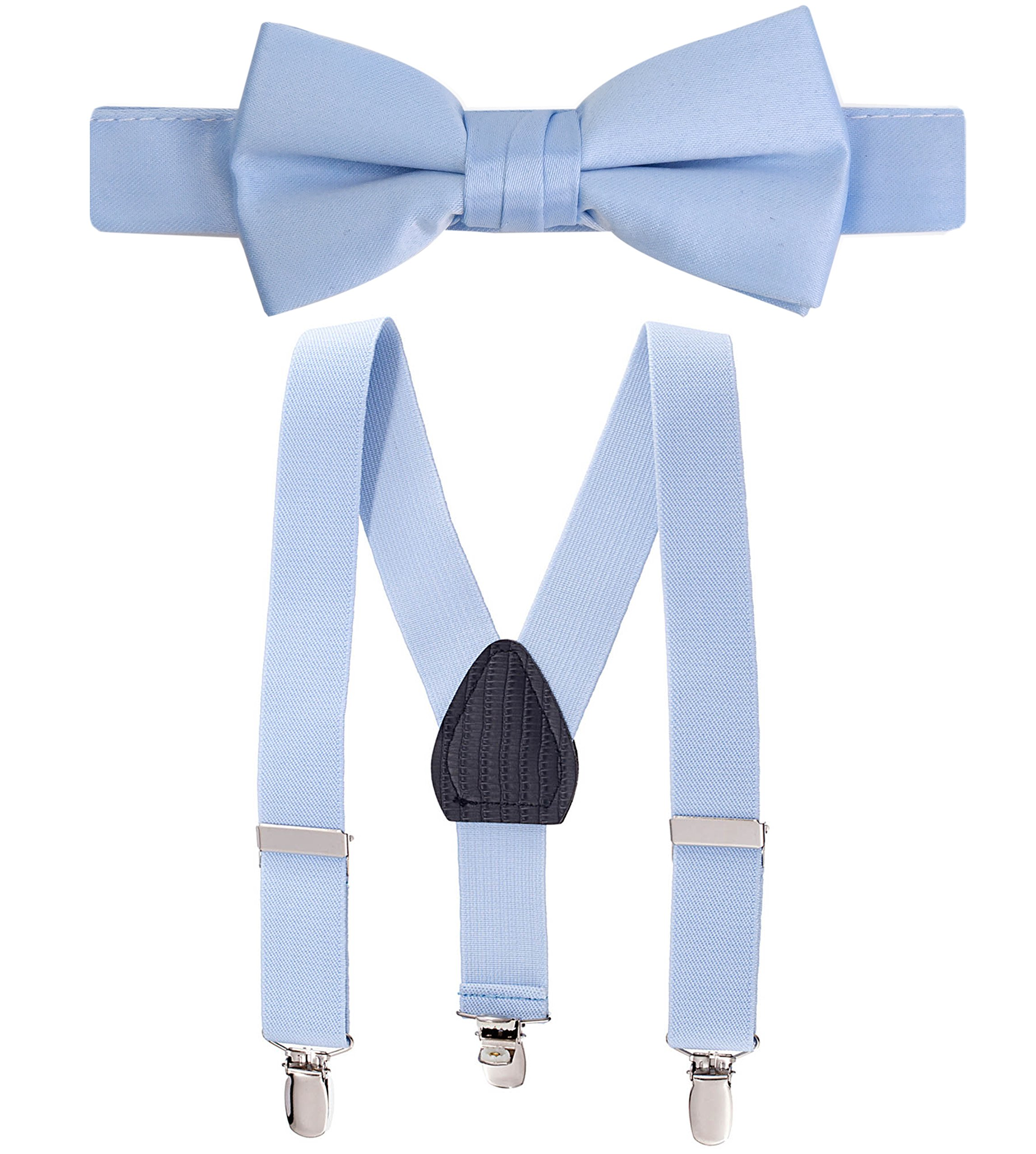 Hold'Em Suspender and Bow Tie Set for Kids, Boys, and Baby - Proudly Made in USA - Extra Sturdy Polished Silver Metal Clips, Pre tied Bow Tie-Light Blue 22''