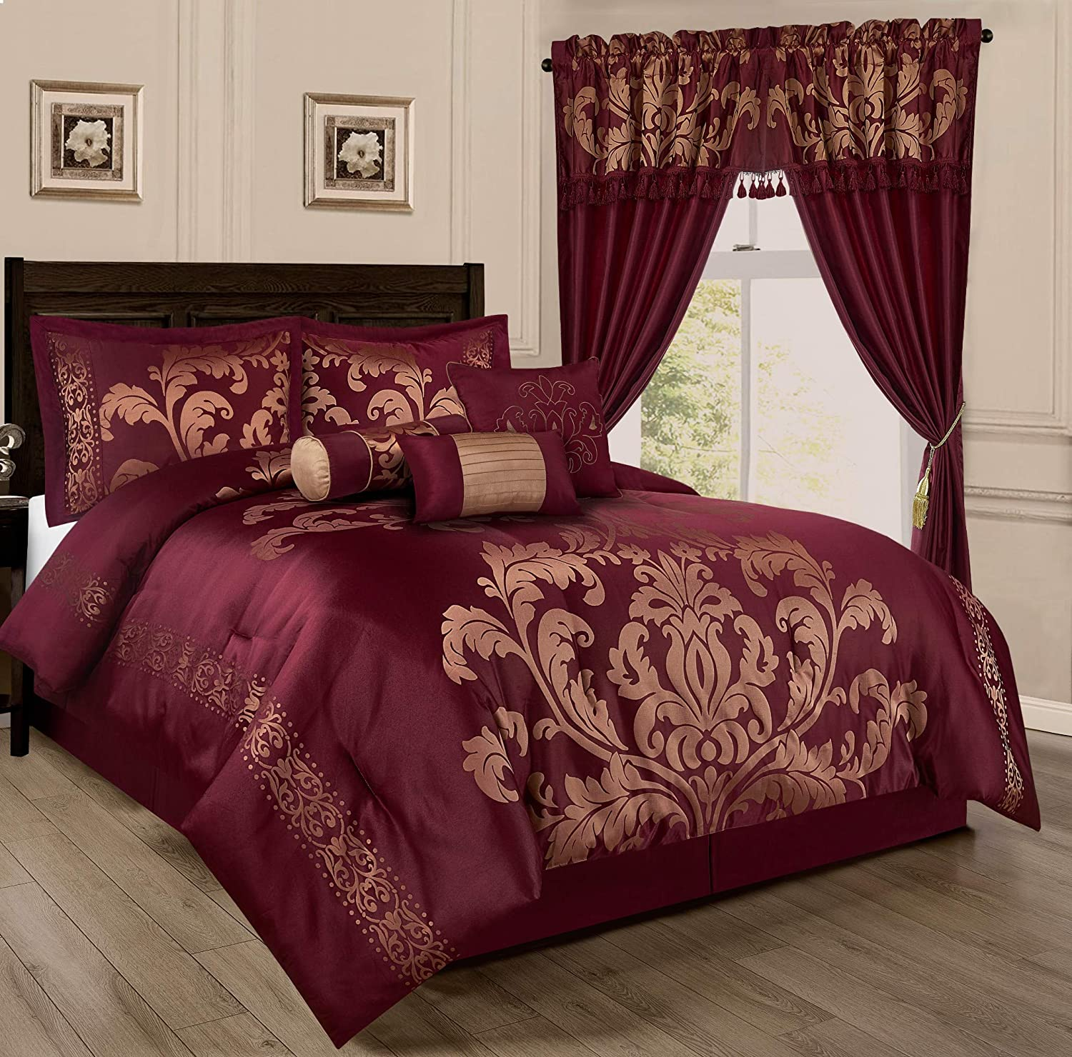 Chezmoi Collection 7-Piece Jacquard Floral Comforter Set (Queen, Maroon)