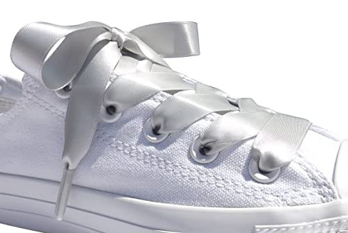 45818ea2e402 Amazon.com  Silver Grey Flat Satin Ribbon Shoelaces