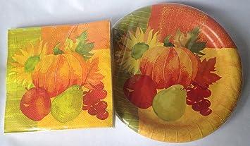 Fall Thanksgiving Pumpkin Paper Plates and Napkins - Service for 18 & Amazon.com: Fall Thanksgiving Pumpkin Paper Plates and Napkins ...