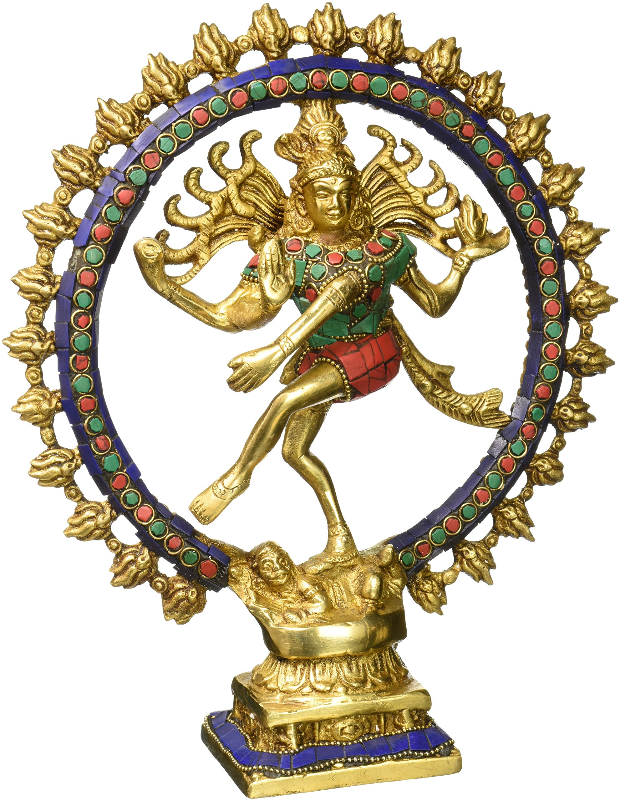 Aone India 11'' Large Nataraja Shiva Statue Lord Brass Sculpture Hindu God Figurine Dancing Shiva + Cash Envelope (Pack Of 10)