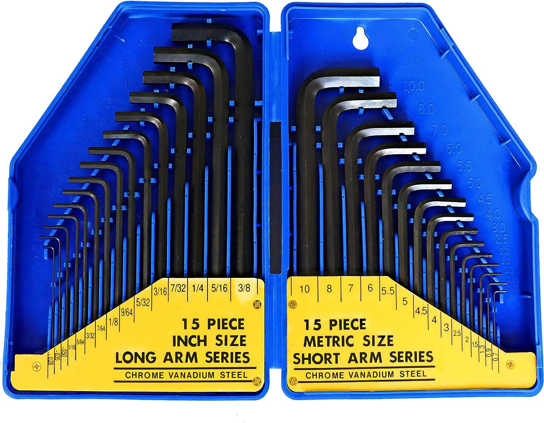 S&R Juego de 30 llaves Allen hexagonales en Pulgadas y millimetros. Llaves largas y pequeñas para Bicicleta