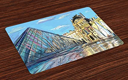 Amazon Com Lunarable Sketchy Place Mats Set Of 4 Louvre