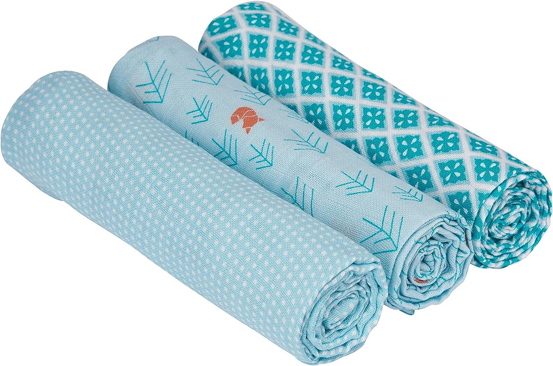 L/ÄSSIG B/éb/é Couvertures dEmmaillotage Mousseline de Coton 3 pi/èces assorties 85x85 cm L//Swaddle Blanket Lela Light Blue