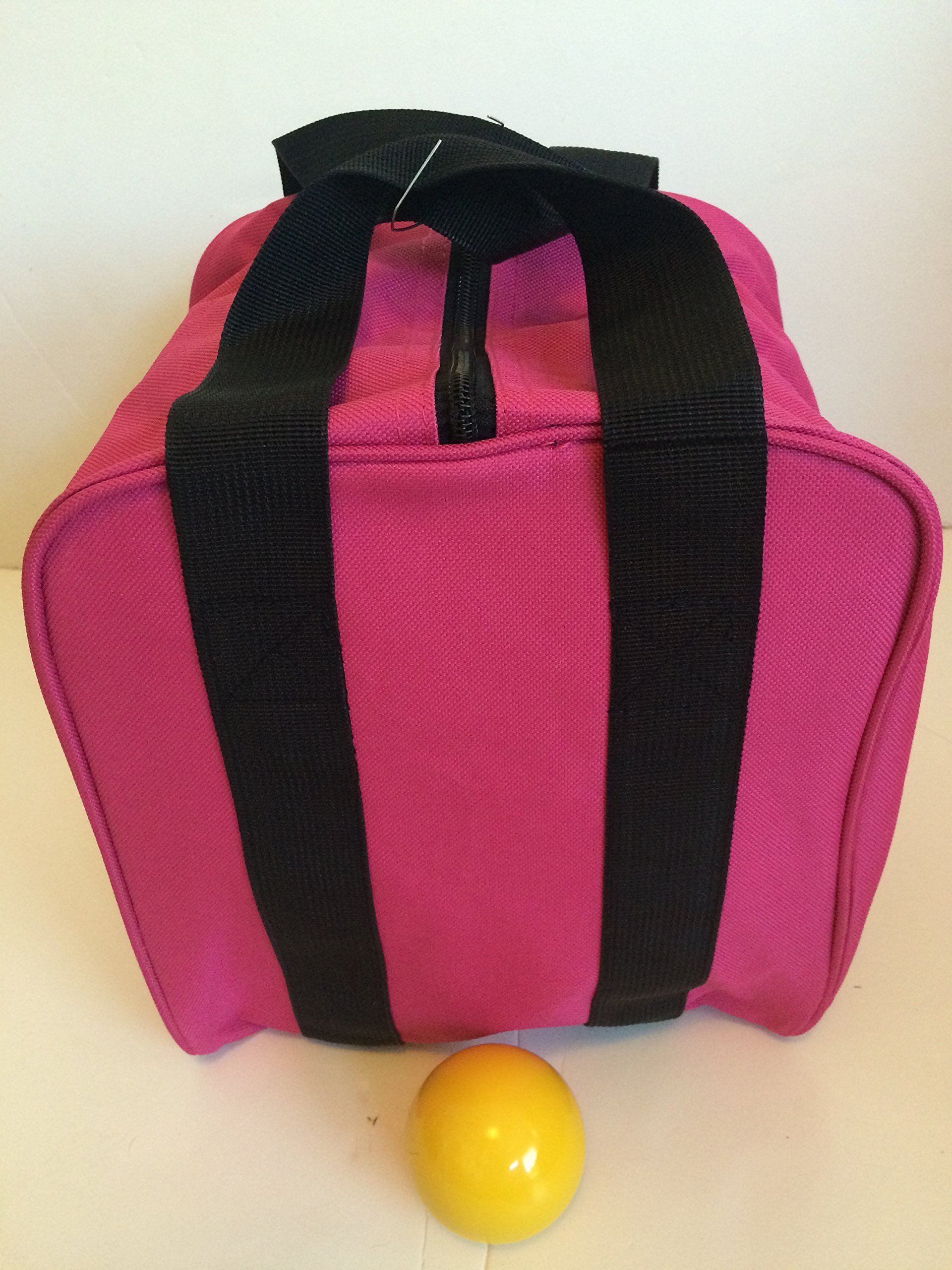 Unique Bocce Accessories Package - Extra Heavy Duty Nylon Bocce Bag (Pink with Black Handles) and yellow pallina