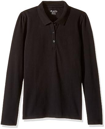 45186ca65 The Children's Place Big Girls' Uniform Long Sleeve Polo, Black 43864, ...