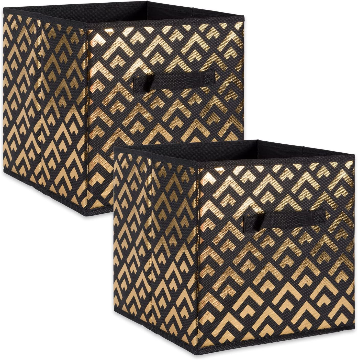 "DII Fabric Storage Bins for Nursery, Offices, & Home Organization, Containers Are Made To Fit Standard Cube Organizers (11x11x11"") Double Diamond Gold on Black- Set of 2"