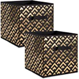 "DII Fabric Storage Bins for Nursery, Offices, & Home Organization, Containers Are Made To Fit Standard Cube Organizers (13x13x13"") Double Diamond Gold on Black  - Set of 2"