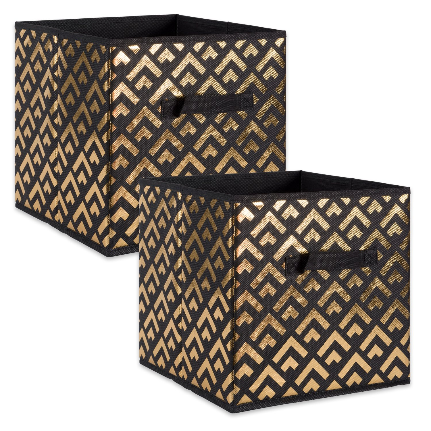 DII Fabric Storage Bins for Nursery, Offices, Home Organization, Containers Are Made To Fit Standard Cube Organizers (13x13x13) Double Diamond Gold on Black - Set of 2