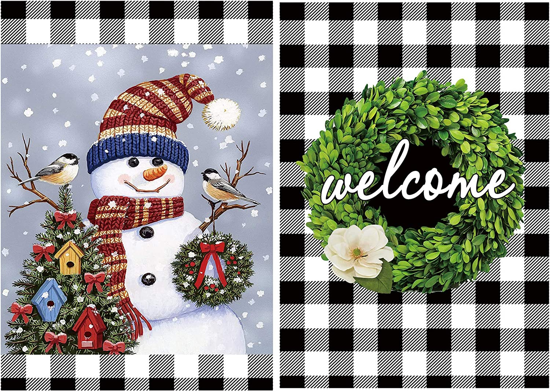 CandyHome Christmas Garden Flags 12.5 x 18, Double Sided Snowman Garden Flag and Welcome Garden Flag, Decorative Fall Winter Buffalo Check Plaid Rustic Farmhouse Flag Yard House Outdoor Decor (2 Pack)