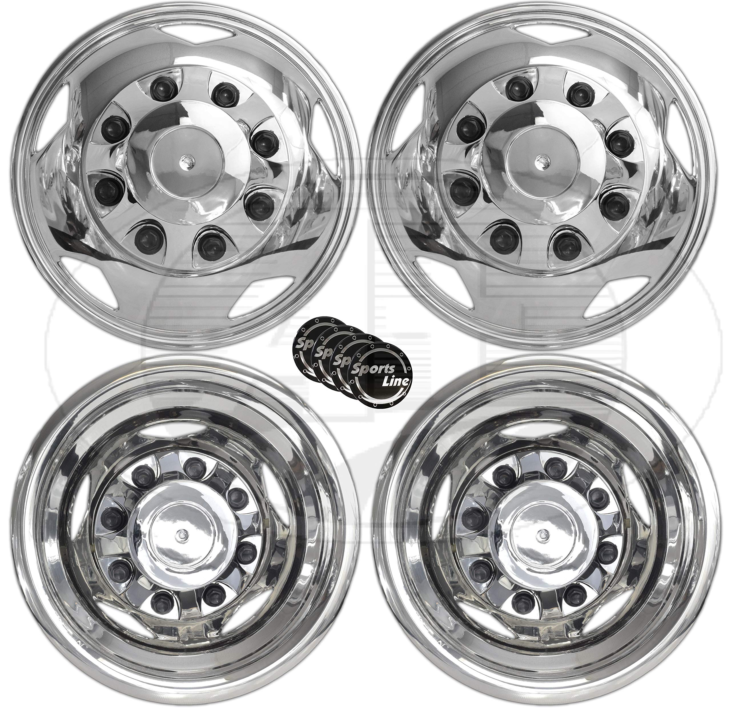 Truck Accessories Best for Pick-up Trucks Hub Caps Rim Skin Chrome Cover Parts Pack of 4 304L Stainless Steel 17 Inch Wheels Simulator OxGord Wheel Simulators 17 Dually for 03-19 Dodge Ram 3500