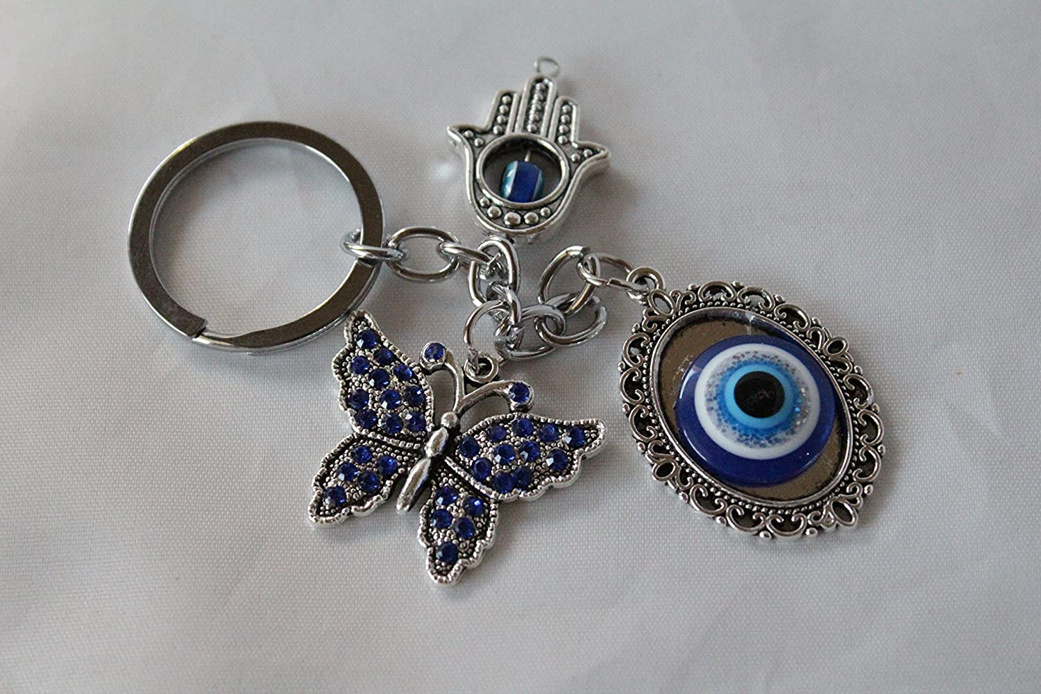 Amazon.com: Hand of Hamsa Evil Eye Butterfly Silver Metal ...