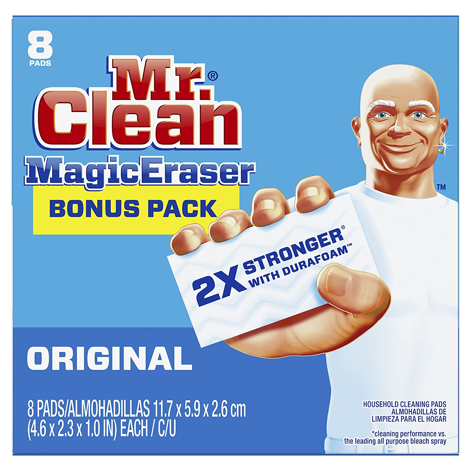Mr.. Clean Magic Eraser Original, Cleaning Pads with Durafoam, 8 Count (Packaging May Vary)