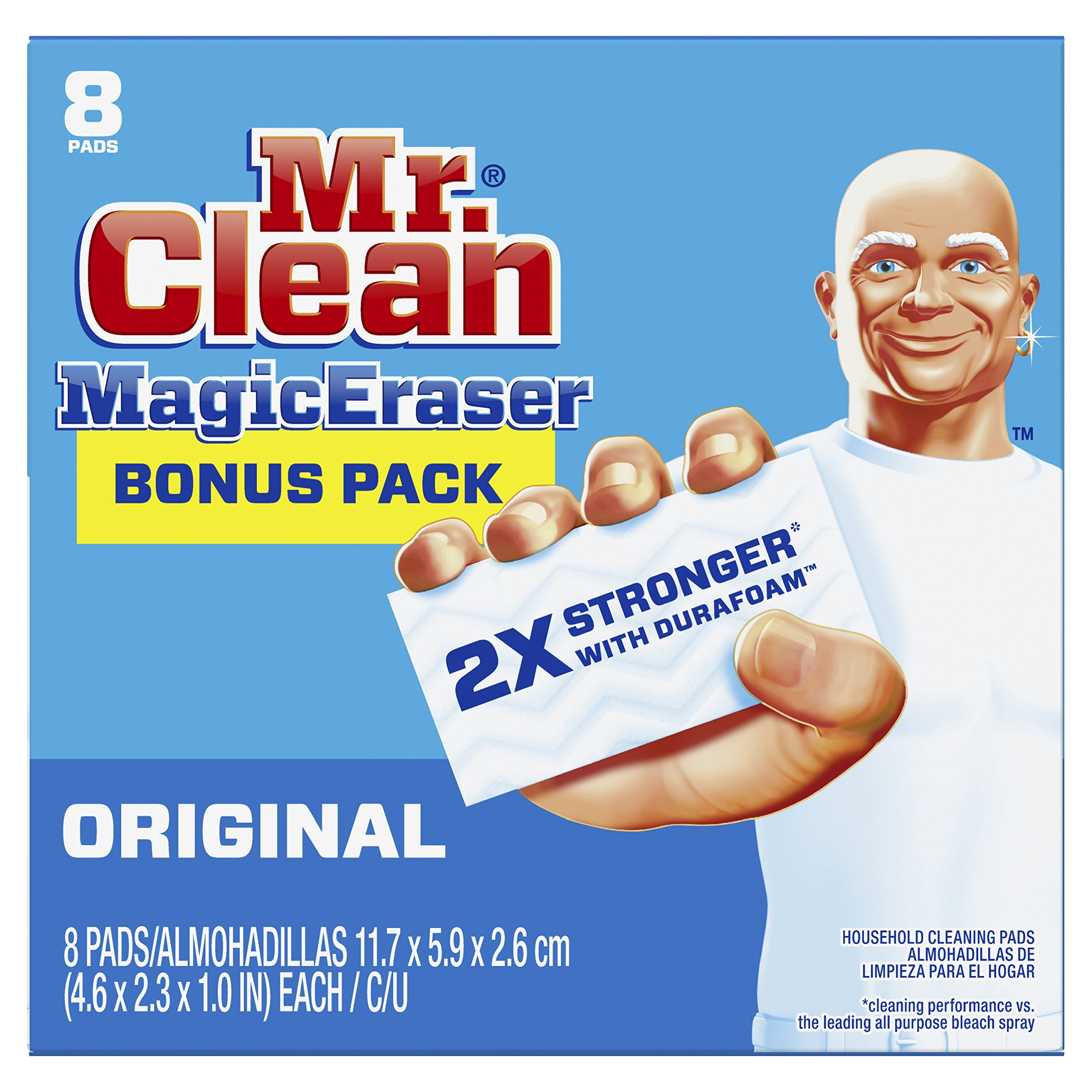 .Mr. Clean Magic Eraser Original, Cleaning Pads with Durafoam, 8 count (Packaging May Vary)