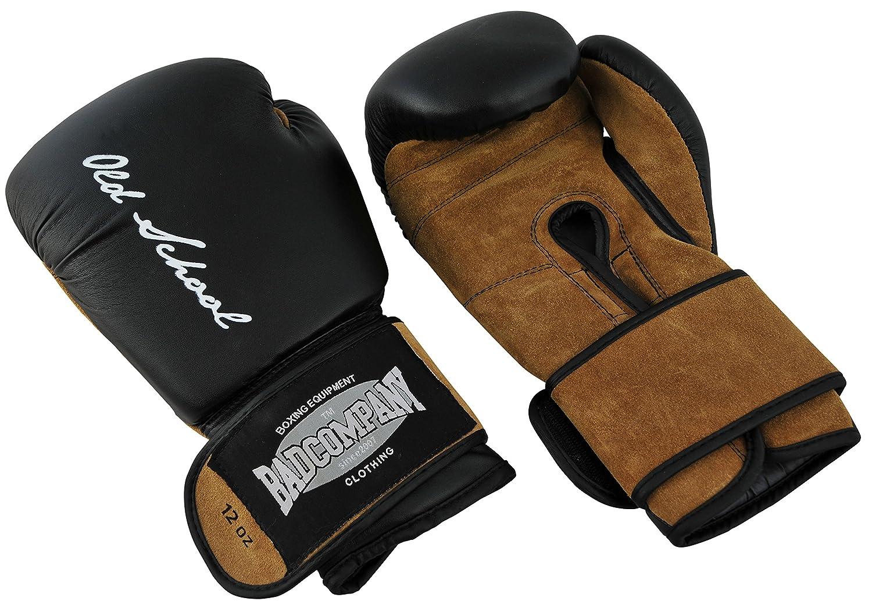 Bad Company Boxhandschuhe aus Leder I Modell Old School I Für Das Boxtraining, Sparring und Wettkampf-Boxen I Gewichtsklassen 10 oz - 16 oz I Schwarz/Braun