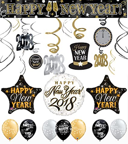 black gold silver happy new years 2018 countdown party decorating bundle