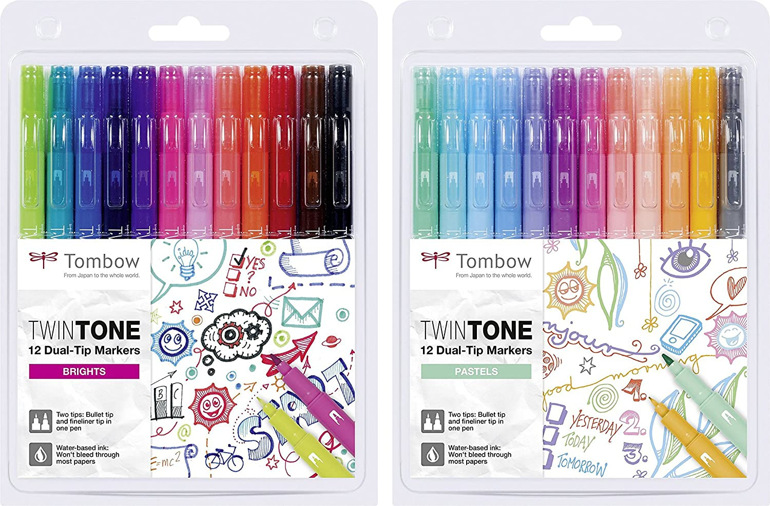 Tombow WS-PK-12P-2 Twintone Marker Set 12-Pack, Dual-tip, pastel