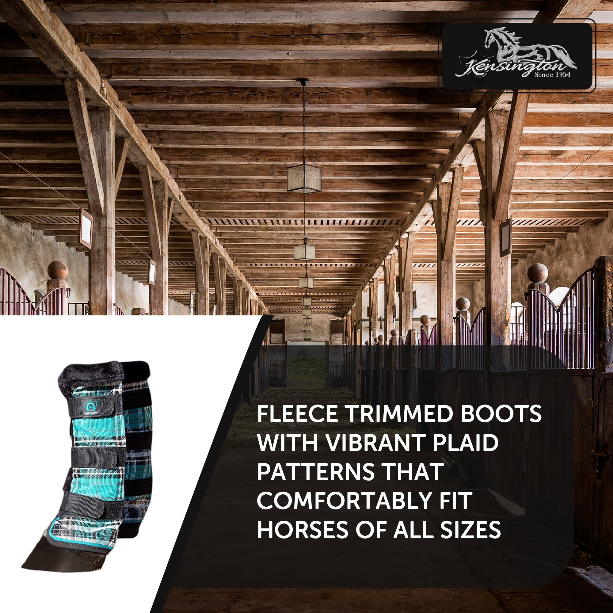 Kensington Horse Fly Boots with Comfortable Fleece Trim — Stay-Up Technology with Velcro Straps — Protection from Insect Bites and UV Rays — Sold in Pairs of 2 (Black Ice Plaid) by kensington products (Image #5)