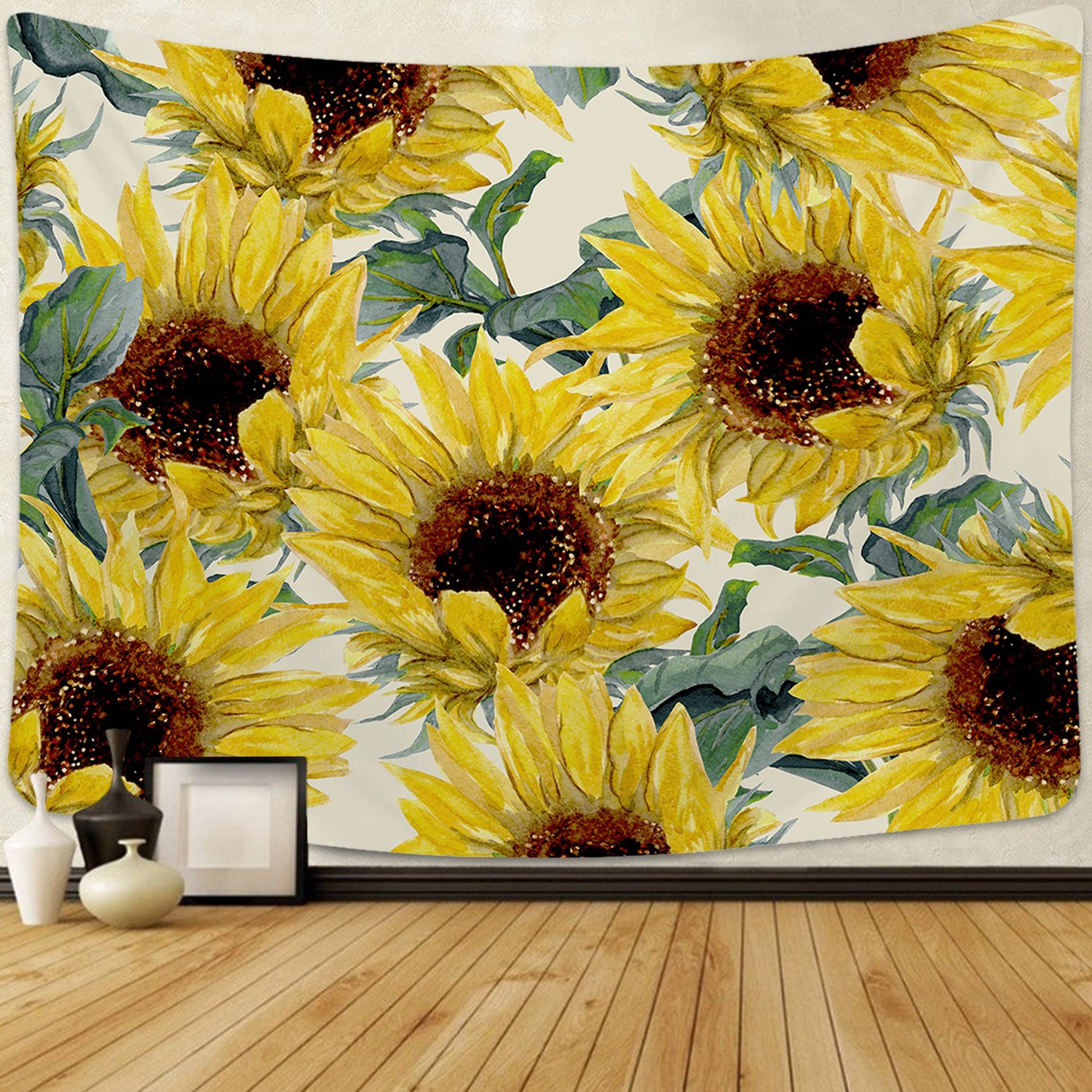 Smurfs Yingda Sunflowers Tapestry Wall Hanging Sunflower Plant Printed Tapestry Sunflower Watercolor Tapestry Cactus Wall Tapestry for Kids Girls Boys Room Bedroom Living Room Dorm by Smurfs Yingda