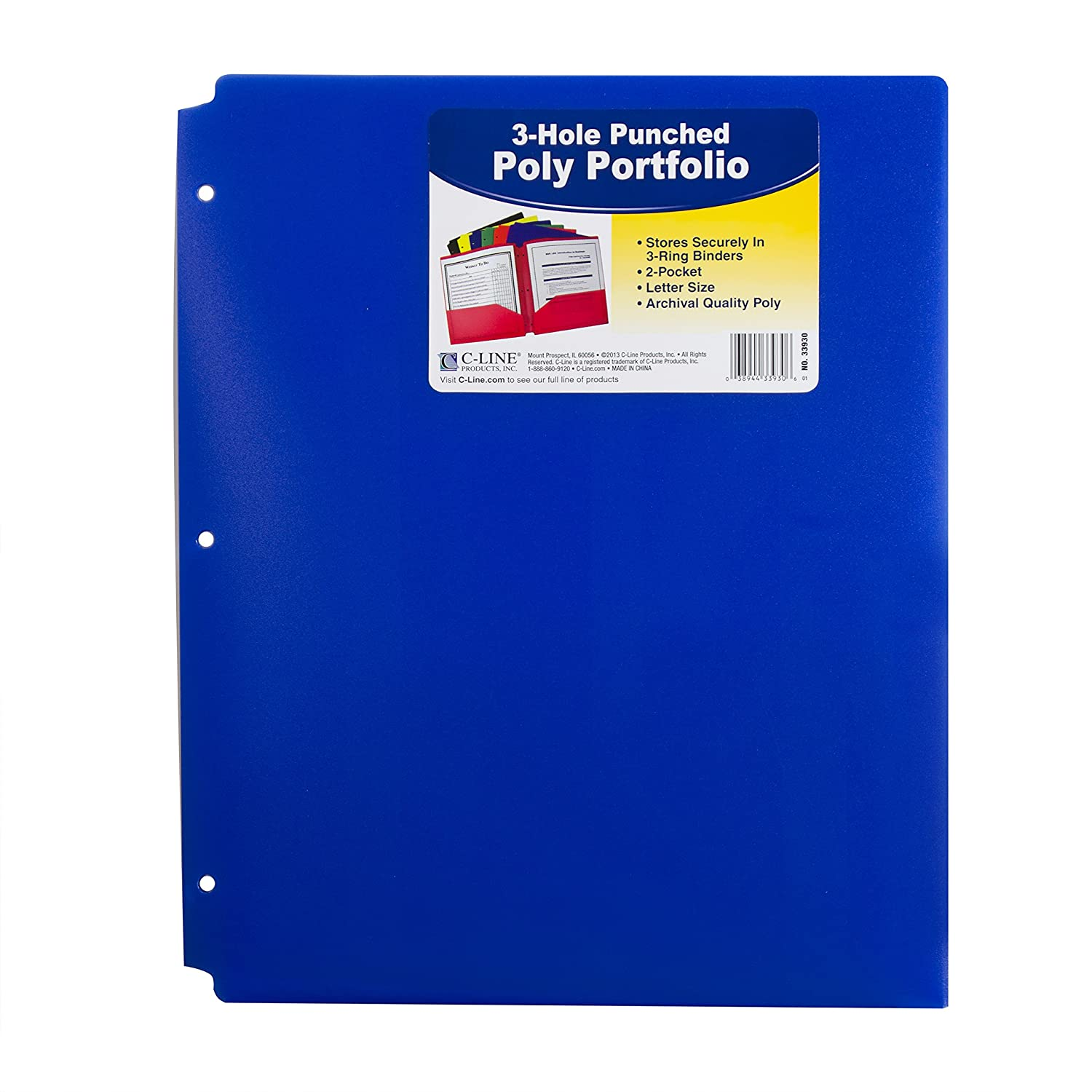 C-Line Two-Pocket Heavyweight Poly Portfolio with 3-Hole Punch ...