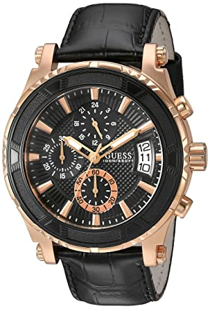 Amazon Com Guess Men S Stainless Steel Casual Leather Watch