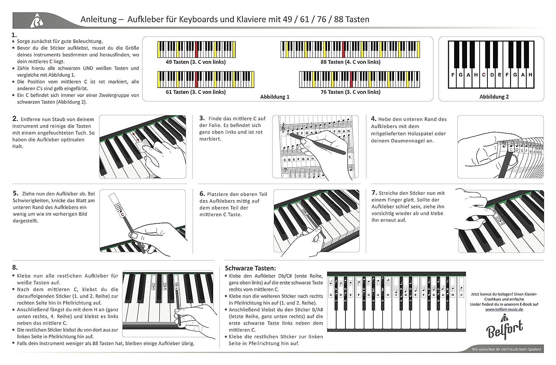 Keyboard Notas de piano instrucciones en alem/án F/ácil Piano Premium para 49 Gratis eBook 88/teclas Pegatinas Juego completo para Negra Weisse teclas C de D de S de F de G de a de H 76 61