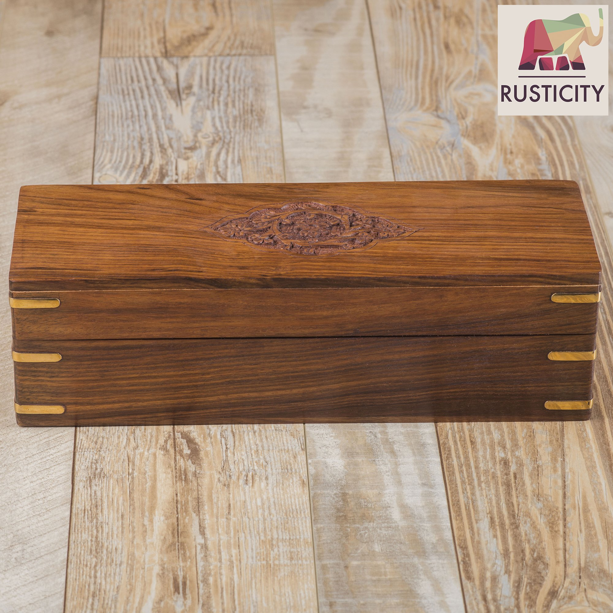 Rusticity Wooden Tea Box/Spice Organizer with Lid - 8 Slots | Handmade | (12x4.5 in) by Rusticity (Image #2)