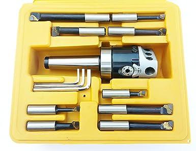 BHS-22 Boring Head Set 2 Head plus 3//4 Straight Shank and 1//2 Carbide Tip Boring Bar Set