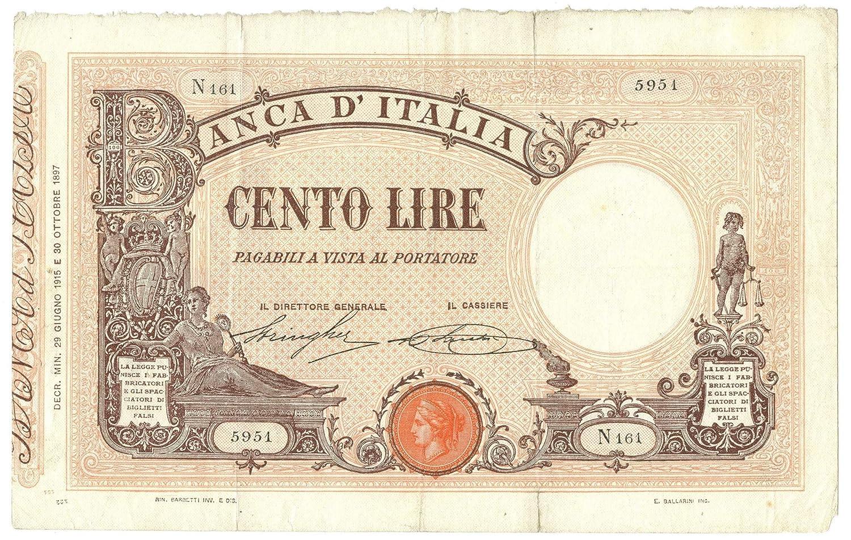Cartamoneta  100 Lire BARBETTI Grande B Testina Matrice DECRETO 29 06 1915 qBB