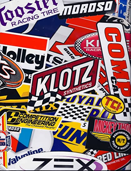 Racing decal sticker 25 piece assortment pack by crash daddy