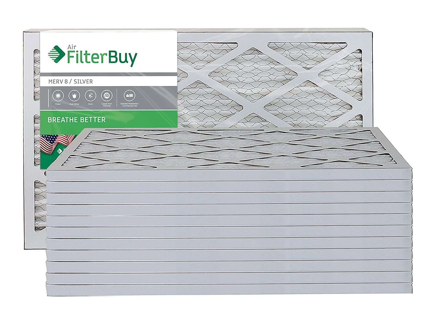 FilterBuy 14x24x1 MERV 8 Pleated AC Furnace Air Filter, (Pack of 12 Filters), 14x24x1 – Silver