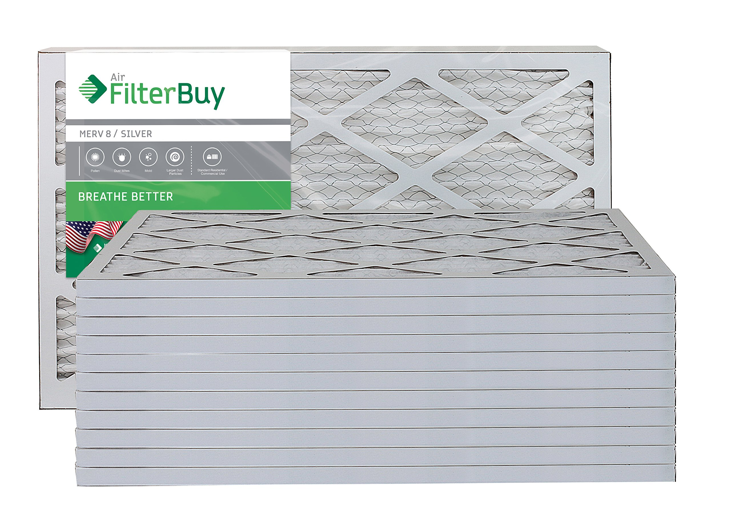 AFB Silver MERV 8 12x25x1 Pleated AC Furnace Air Filter. Pack of 12 Filters. 100% produced in the USA.