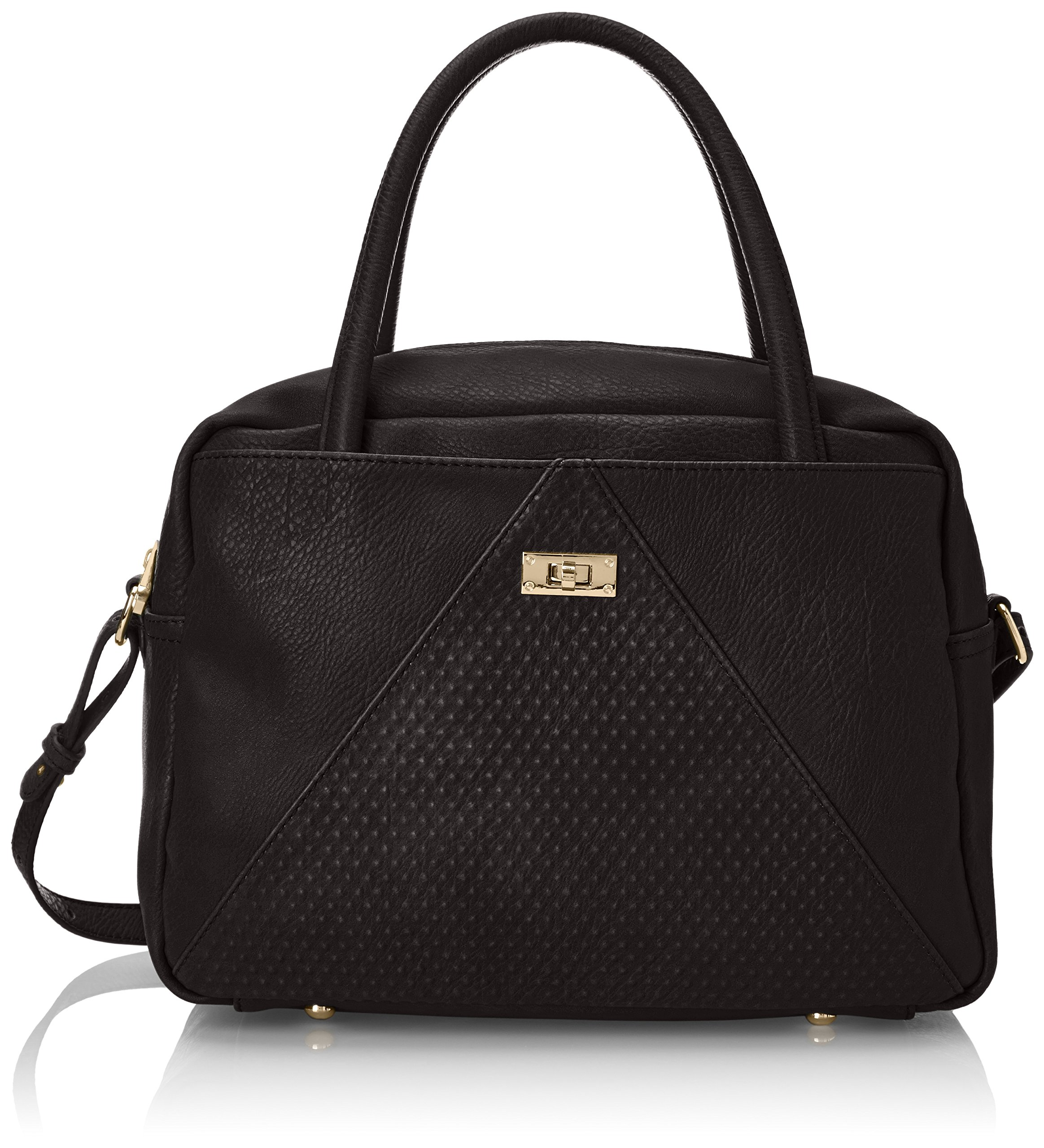 POVERTY FLATS by rian Raised Dot V Satchel Top Handle Bag, Black, One Size