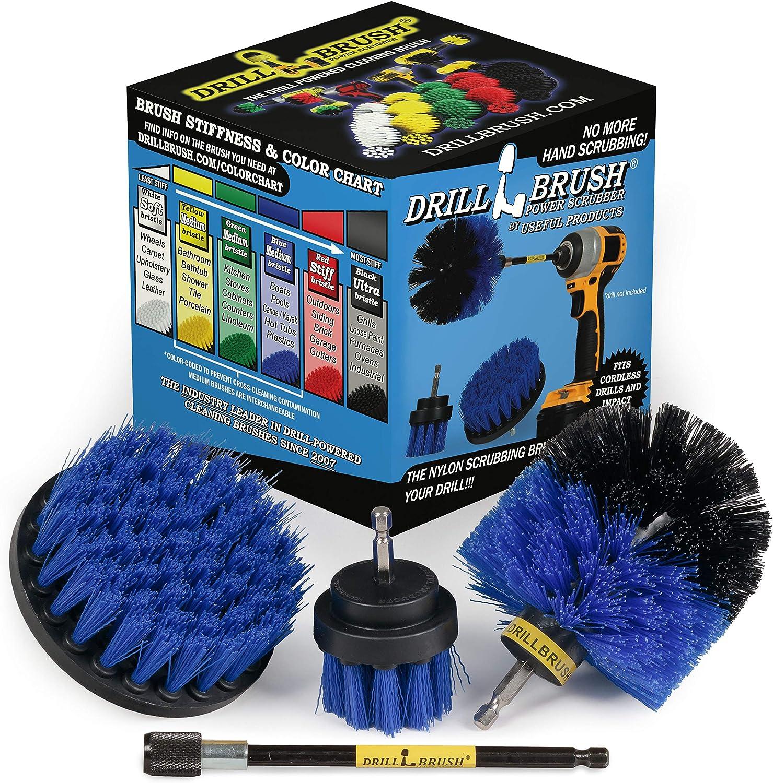 Car Wash Brush Hard Bristle Drill Scrubber Kit Auto Care Cleaning Tools 3pcs//set