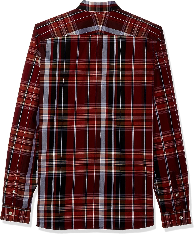 Fred Perry Hombre M3525 Manga Larga Camisa de botones - Rojo ...