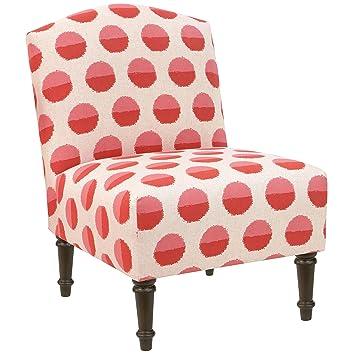 Skyline Furniture Margot Flamingo Polka Dot Camel Back Accent Chair
