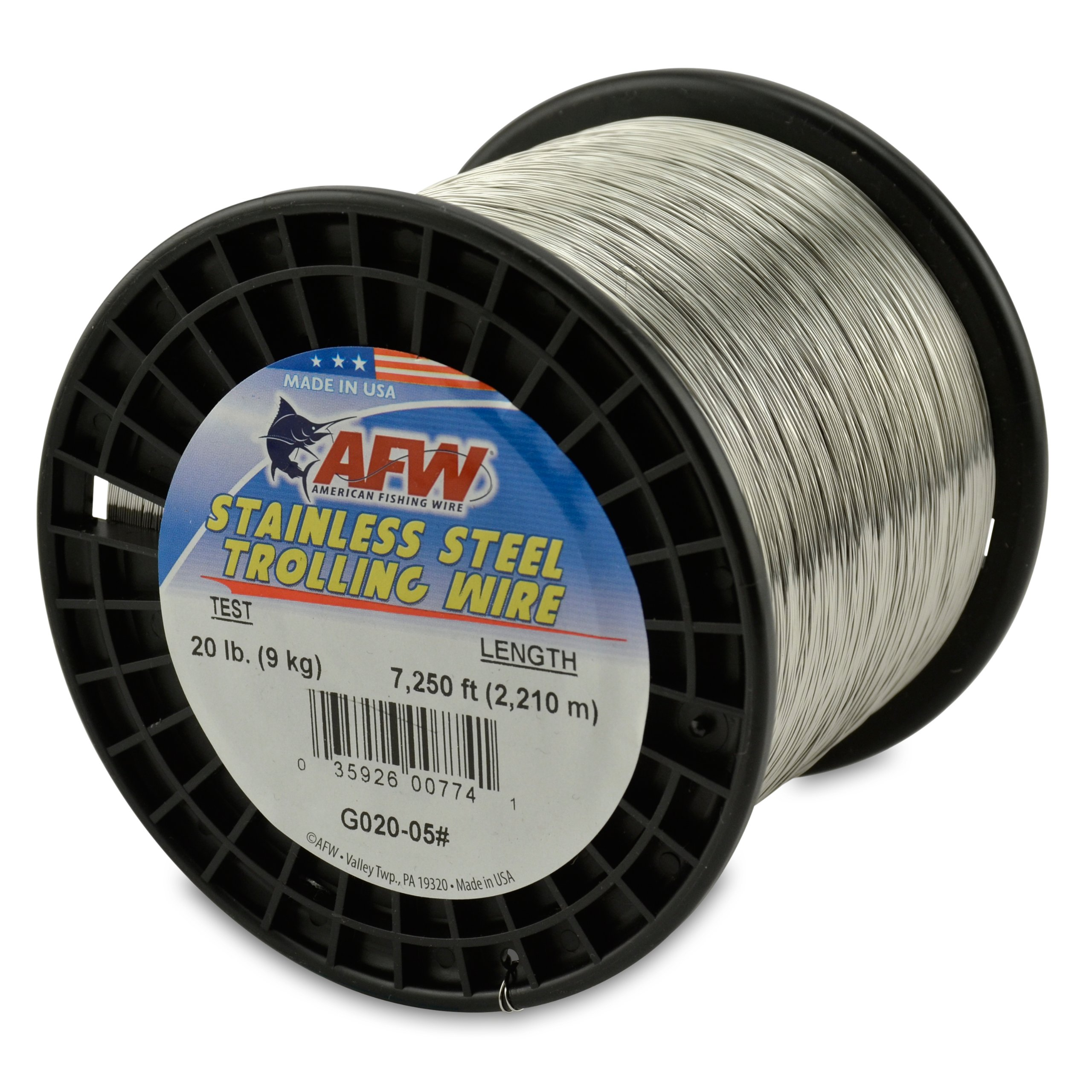 American Fishing Wire Stainless Steel Trolling Wire, 20-Pound Test/0.41mm Dia/2209m