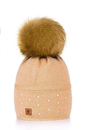 1850e76ad69f7 MFAZ Morefaz Ltd Mujer Sombrero De Invierno Cristales Beanie Gran Pom Pom  Gorro De Invierno Cálido