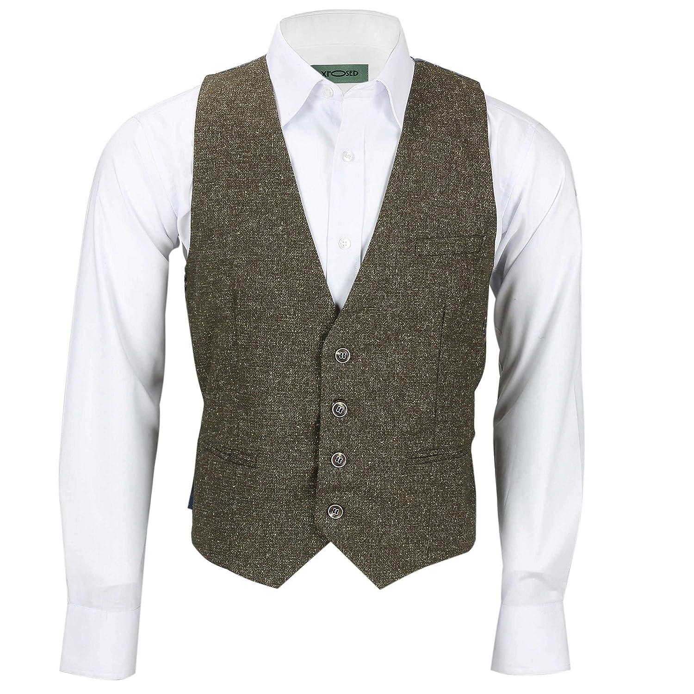 Amazon.com: XPOSED - Traje de 3 piezas de lana de tweed para ...