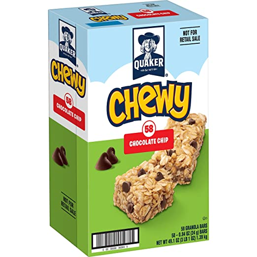 Quaker Chewy Granola Bars, Chocolate Chip, 0.84 Ounce Bars, 58 Count Packaging May Vary