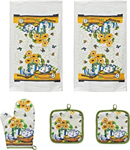 URED 5pcs Sunflowers Kitchen Decor,Kitchen Towels And Dishcloths Sets,Farmhouse Kitchen Decor,Professional Dish Towels For Drying Dishes ,Kitchen Essentials For New Home Dish Towels,