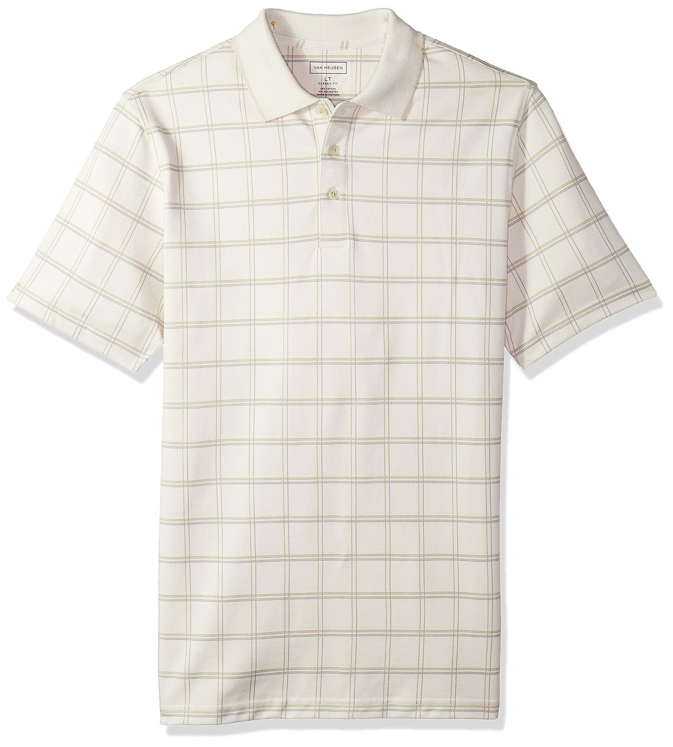 Van Heusen Men's Size Big and Tall Short Sleeve Windowpane Polo Shirt, Silver Birch, 4X-Large Tall