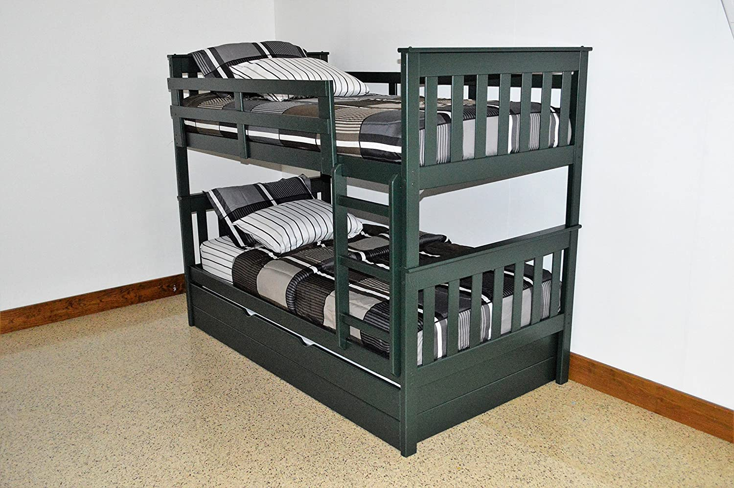 Amazon Com Kids Trundle Bunk Bed Twin Over Twin Mission Bed Bunkbeds Amish Made In The Usa As Quality Matters Sturdy Long Lasting Bedroom Furniture For Children Evergreen Kitchen Dining