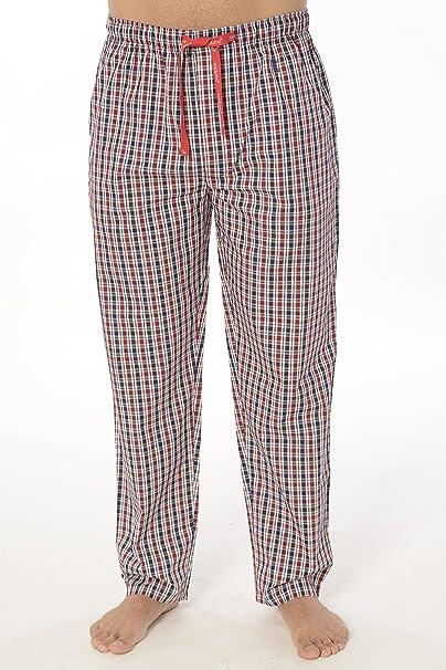 Pantalón de Pijama Largo Moderno a Cuadros de Caballero/Hombre - Talla M - Popelín