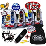 Tech Deck 96mm Individual Fingerboards Bundle with Matty's Toy Stop Storage Bag - Pack of 4 (Assorted Styles)