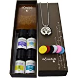 "Tree Of Life Essential Oil Diffuser Necklace Stainless Steel Locket Pendant with 24"" Chain+ 4 Essential Oils (Lavender Peppermint Inner Peace Zen) Gift Set"